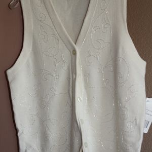 Nwt Rafaella Wool & Acrylic Vest With Beads Sz M